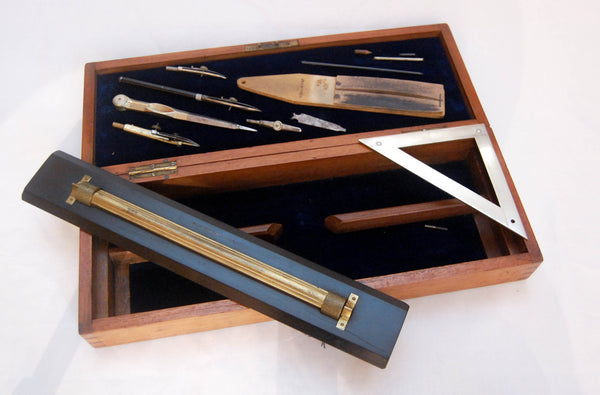 Victorian Drawing Instrument Set by Elliott Brothers London - Owned by Sir Hay Frederick Donaldson KCB