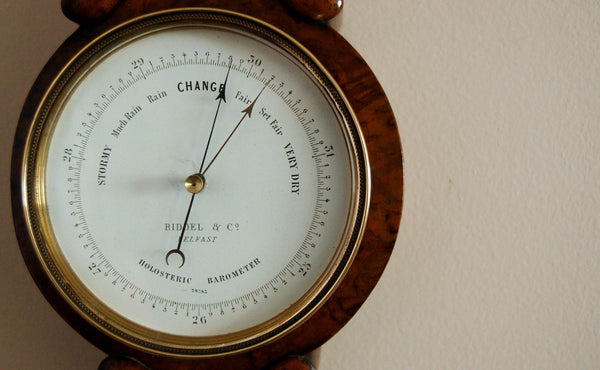 Victorian Walnut Cased Miniature Wheel Barometer by Riddel & Co Belfast