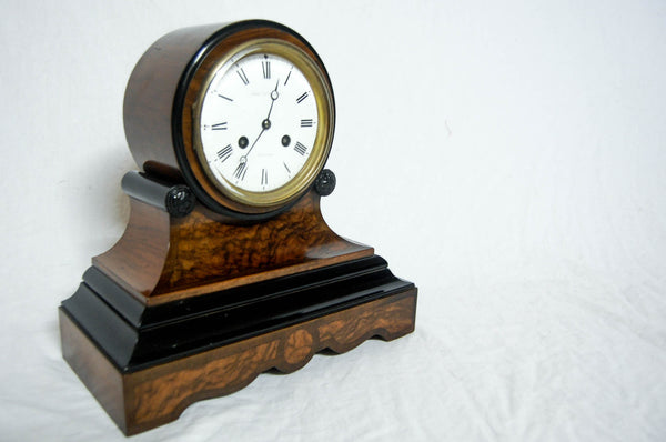 Victorian Channel Islands Walnut & Ebonised Drumhead Clock with French Movement by Le Lacheur, Guernsey.