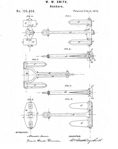 Salesmans Sample of a Wasteneys Smith Patent Stockless Anchor