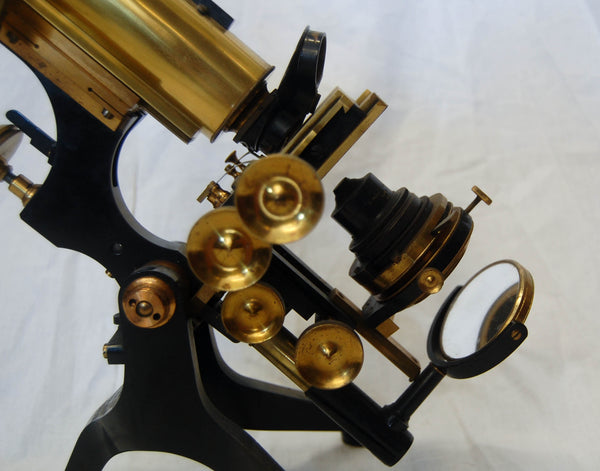 Edwardian Cased Royal Model Microscope by W Watson & Sons, High Holborn, London.