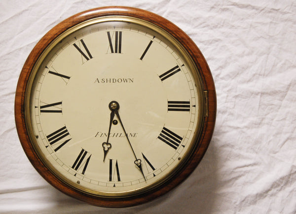 Early Victorian Mahogany Convex Glass Fusee Dial Clock with Eight Day Movement
