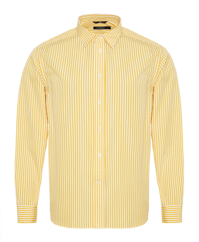 J.LINDEBERG MENS DAVID CL-MASON POP STRIPE SHIRT - STILL YELLOW