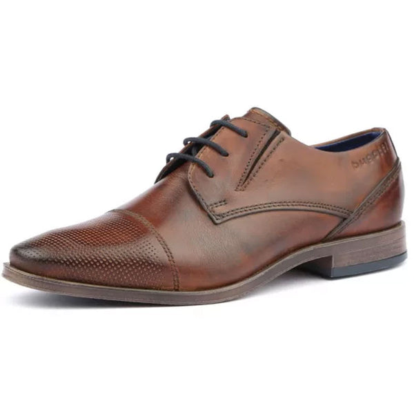 BUGATTI MENS - MORINO LEATHER DRESS SHOE WITH PERFORATED TOE CAP - BROWN
