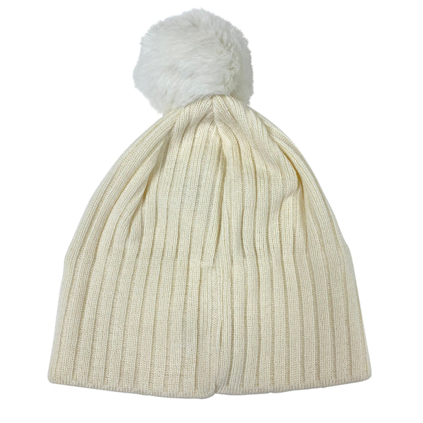 J Lindeberg Men's Fur Ball Hat Wool Blend - WHITE
