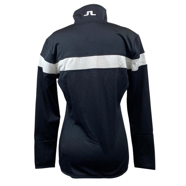 J Lindeberg Women's W Huxley Stripe Tech Jersey - BLACK