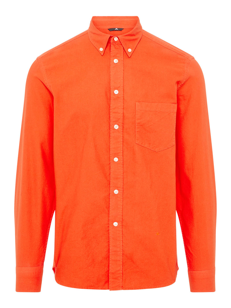 J.LINDEBERG MENS DAVID BD-GMD OXFORD SHIRT - FRIED TOMATO