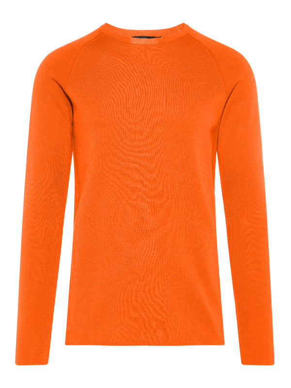 J Lindeberg Men's Serge R-neck Full Milano Sweater - GLAZED GINGER