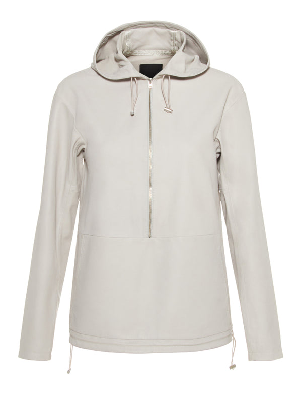 J Lindeberg Women's Shia Sporty Leather Hoodie - PALE GREY