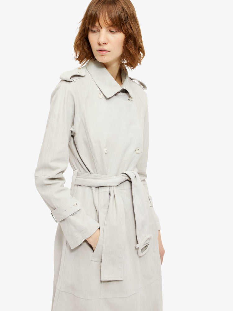J Lindeberg Women's Alphine Light Suede Trench Coat - PALE GREY