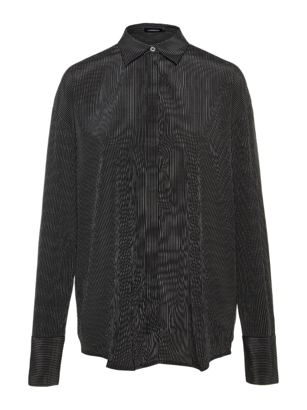 J Lindeberg Women's Nicole Stretch Silk Shirt - BLACK