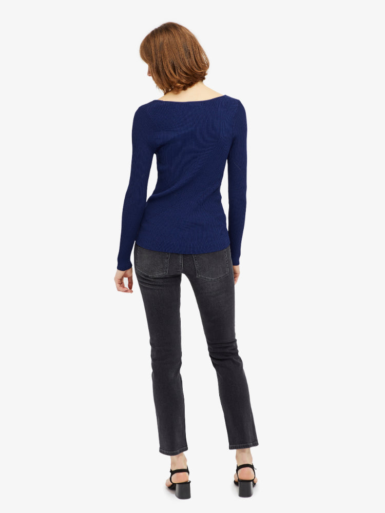 J Lindeberg Women's Naeba Drapy Rib Long Sleeve Top - BLUE