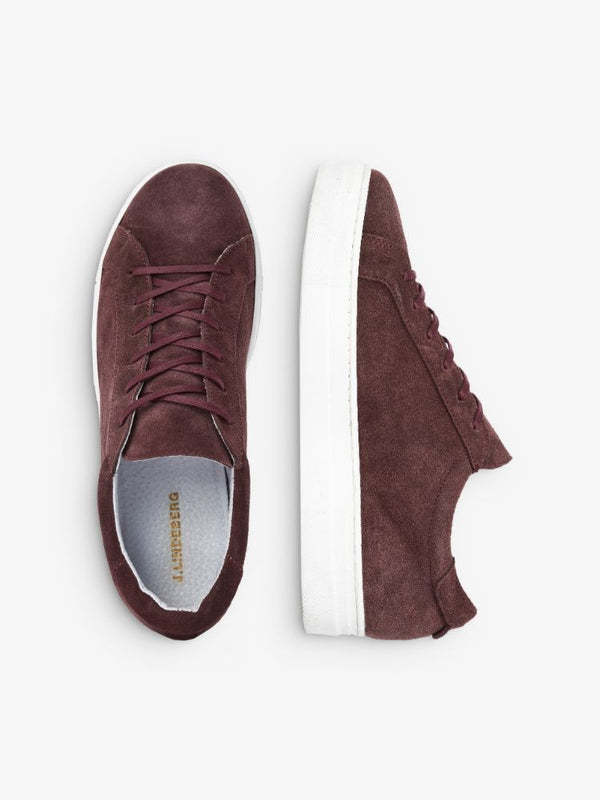 J Lindeberg Women's Low Lace Suede Sneakers - BURGUNDY