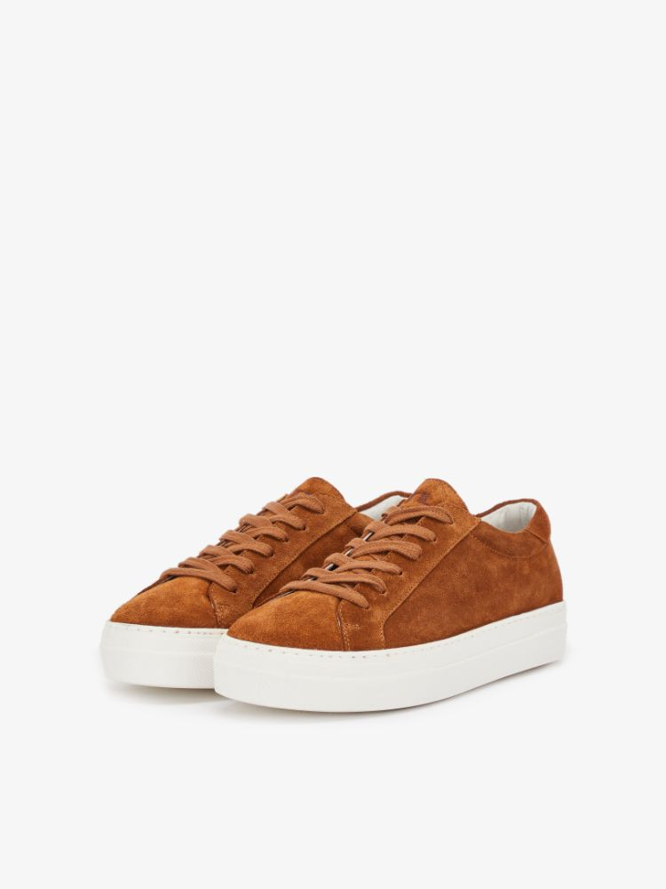 J Lindeberg Women's Low Lace Suede Sneakers - BISON