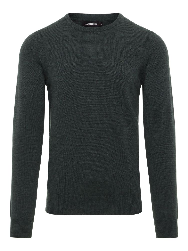 J Lindeberg Men's Lyle True Merino Wool Sweater - DARK GREEN MELANGE