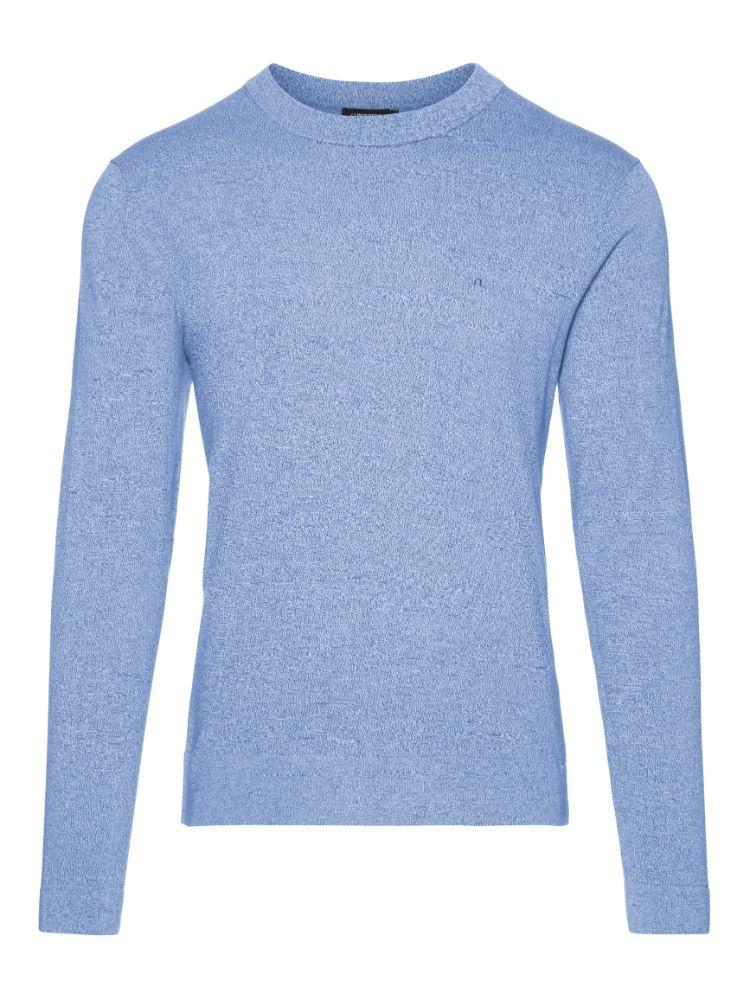 J Lindeberg Men's Niklas R-Neck Refined Cotton Sweater - WORK BLUE