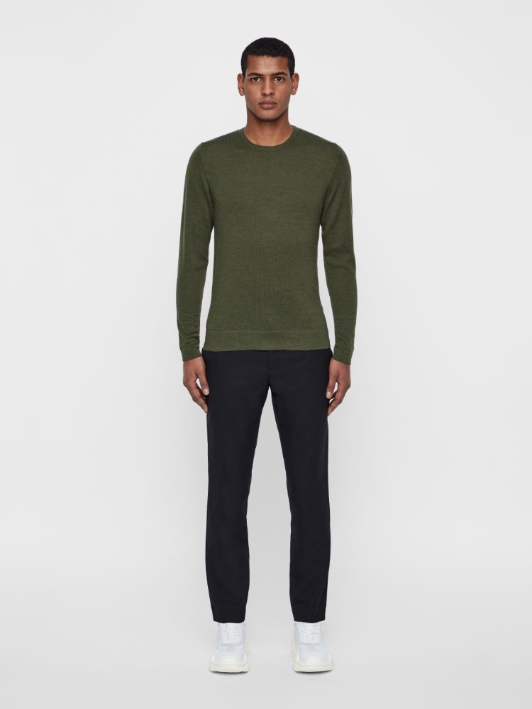 J Lindeberg Men's Newman C-Neck Perfect Merino Sweater - IVY GREEN