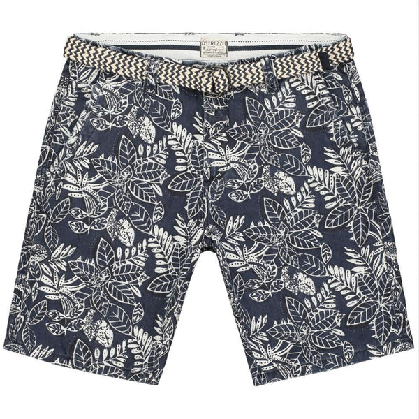 DSTREZZED - MENS CHINO SHORTS FLOWER PRINT - NAVY - SZ 32