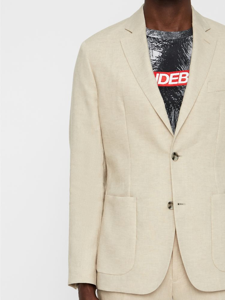 J Lindeberg Men's Hopper Unc-Tech Linen Blazer - WHITE PEPPER