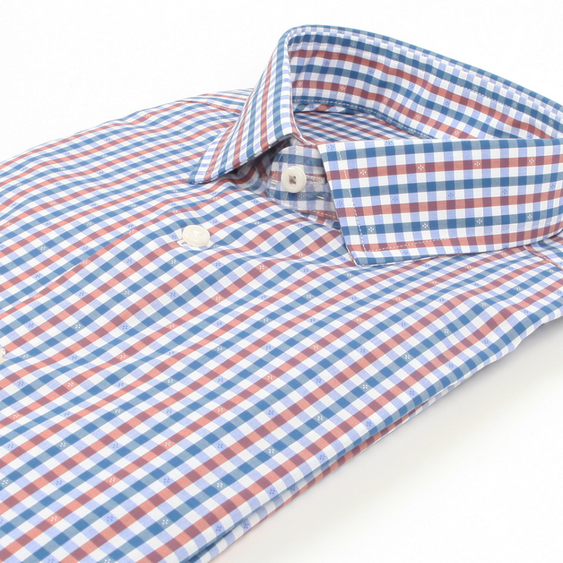 BEN SHERMAN Multi Dobby Gingham Modern Slim-Fit Dress Shirt