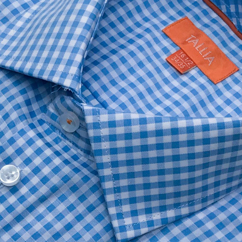 TALLIA ORANGE - MENS GINGHAM SHIRT - REGULAR -AQUA