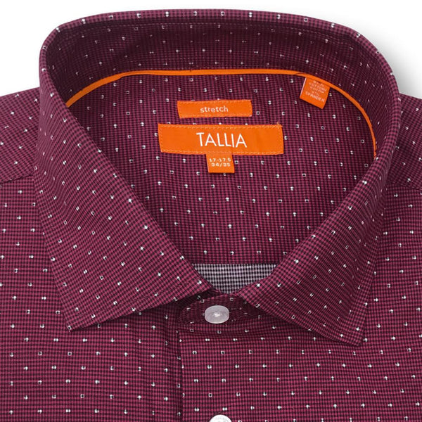 TALLIA MENS - DOTTED MICRO CHECK SHIRT - RED