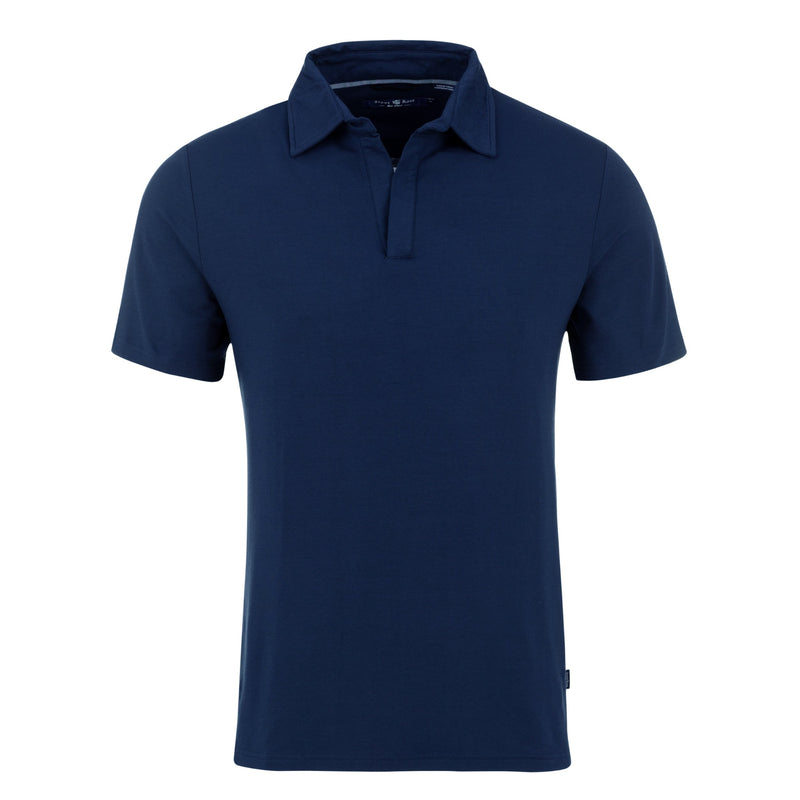 Stone Rose Mens Solid Knit Buttonless Short Sleeve Polo - Navy