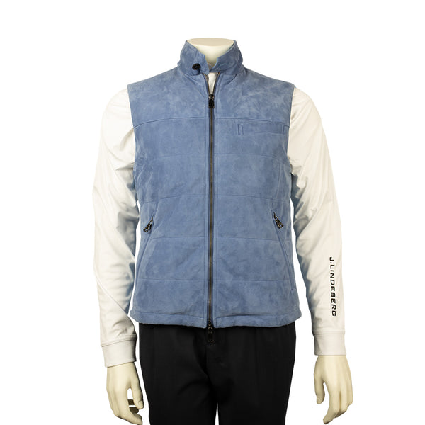 WATERVILLE MENS WEM QUILTED SEUEDE VEST - BLUE