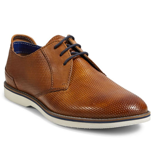 BUGATTI MENS - BIAGINO PERFORATED LEATHER CASUAL DRESS SHOE ON GUMSOLE - COGNAC