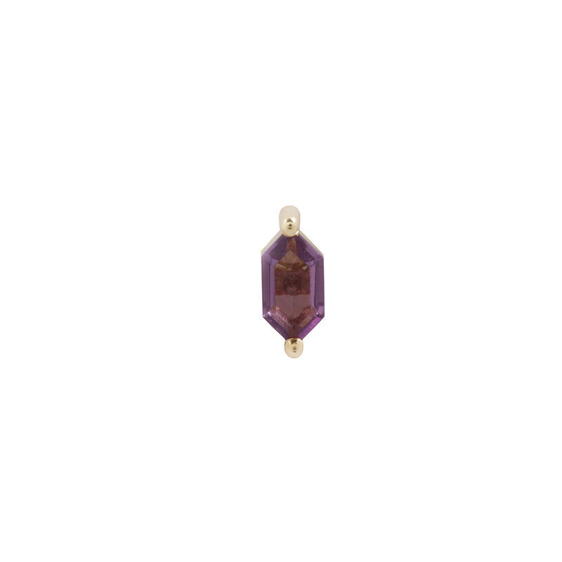 Yellow gold amethyst stud with 2 prongs