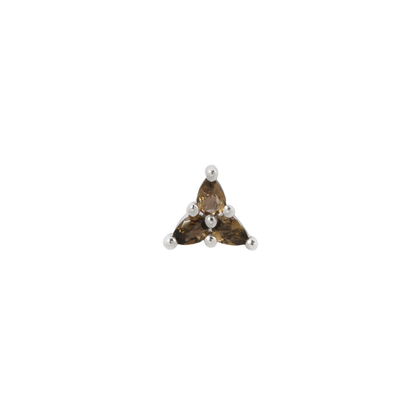 White gold with 3 pear cut Smoky Quartz stud