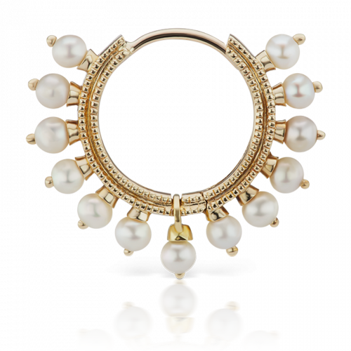 Yellow gold pearl Coronet clicker