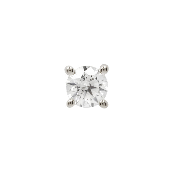 Buddha Threadless Prong Gem Genuine Diamond White Gold