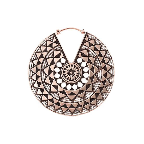 Copper Mayan Hoop Earring