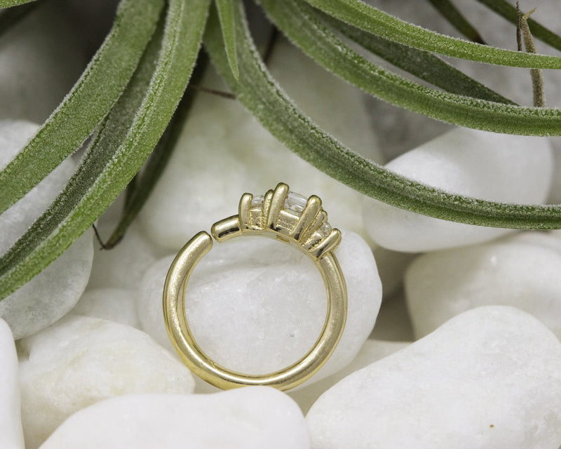 Alchemy Fixed Ring Princess 3 Gem CZ Yellow Gold 16g 5/16''
