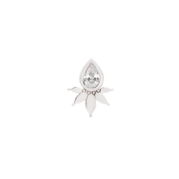 White gold solid flower and pear CZ design