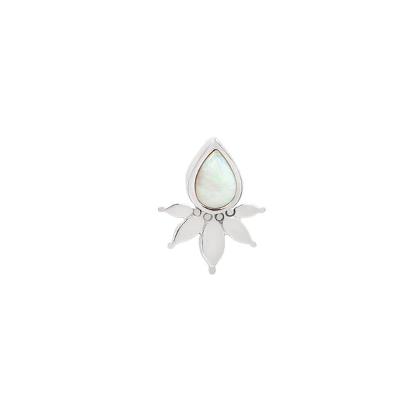 White gold solid flower and pear White Opal design
