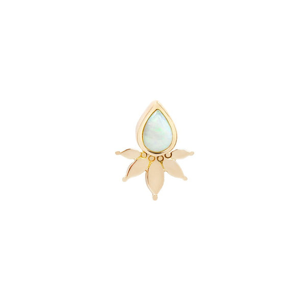 Yellow gold solid flower and pear White Opal design