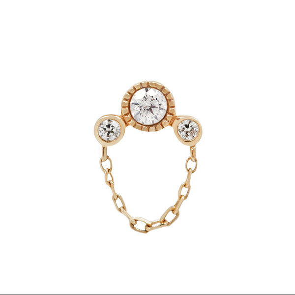 Yellow gold CZ arc cluster with chain
