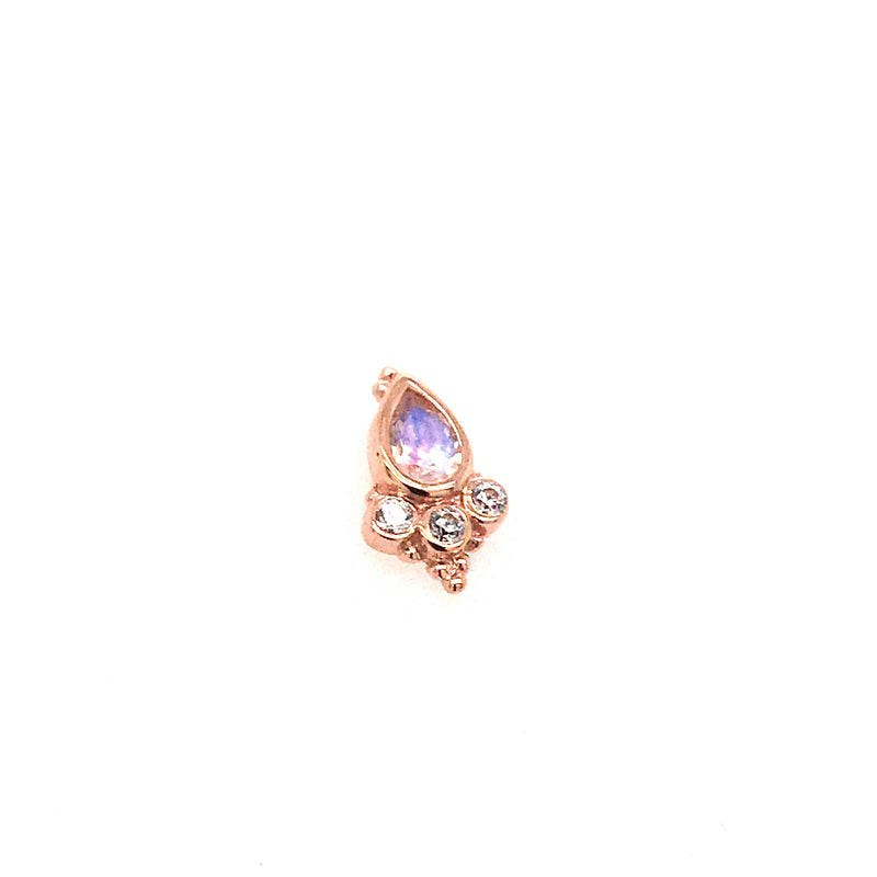 BVLA Threadless Pear Sarai Rainbow Moonstone w/ CZ Accents