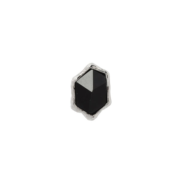 White gold rough shaped black agate