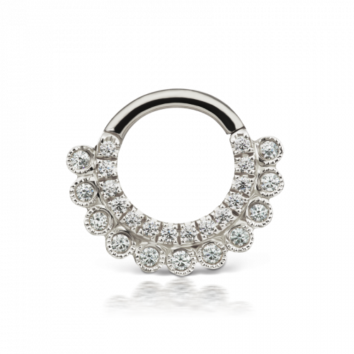 White gold and CZ Apsara clicker