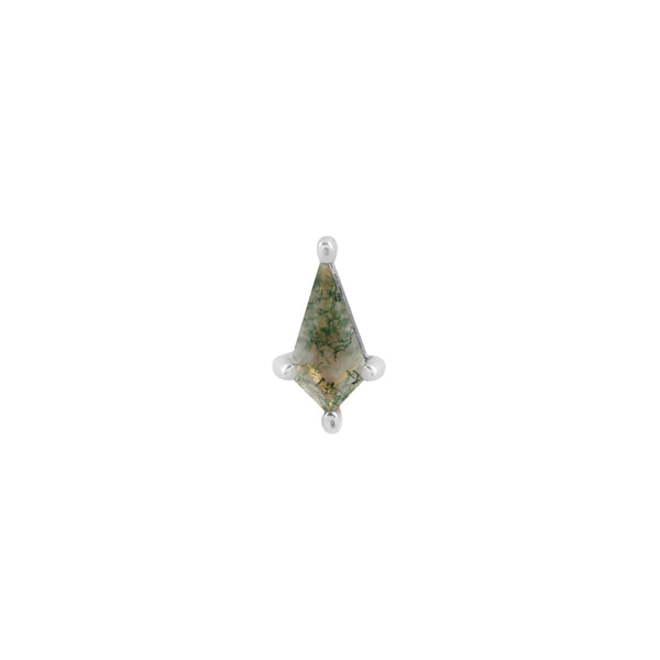 White gold kite cut moss agate stud