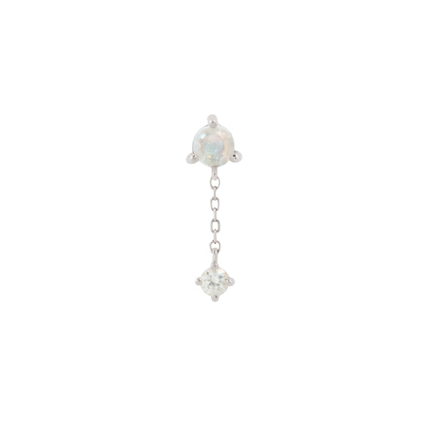 White gold Bianca end with blue moonstone and white sapphire by Buddha Jewelry