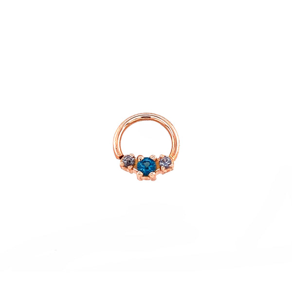 Alchemy Ceri Gem Ring Blue CZ with Grey CZ Rose Gold 16g 5/16''