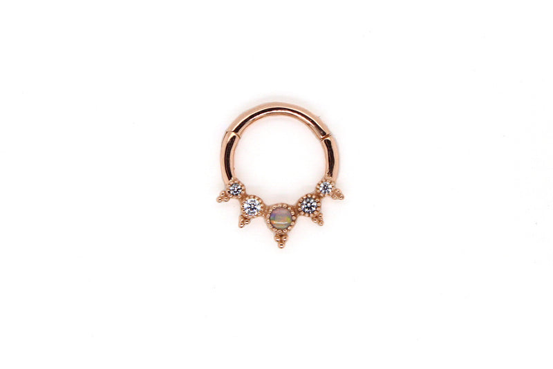 Rose gold clicker ring with White Opal, CZ, and intricate beading