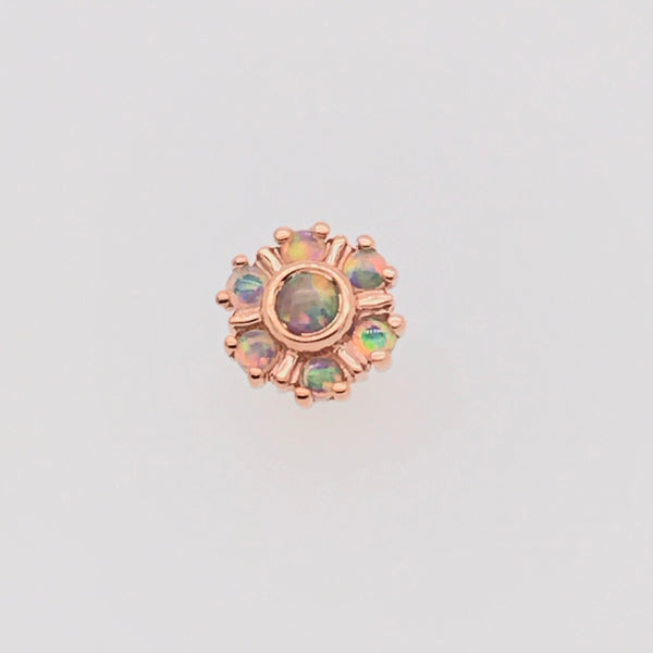 BVLA Threadless Mini Toltec White Opal and Rose Gold