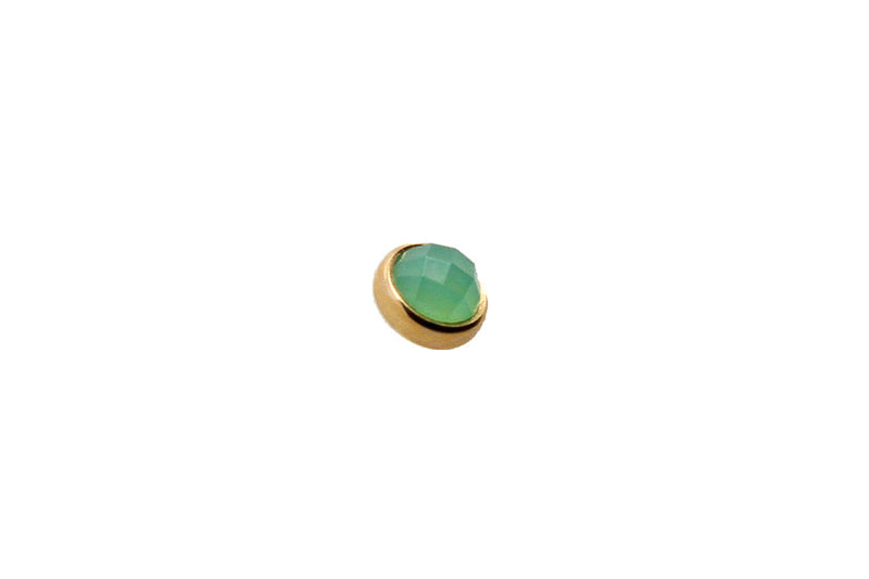 Yellow gold rose cut chrysoprase