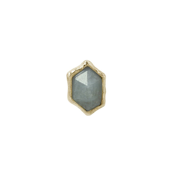 Yellow gold rough shaped aquamarine