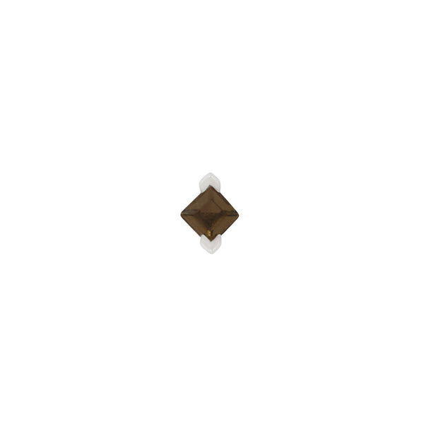 White gold smoky quartz princess cut stud